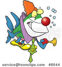 Cartoon Clown Fish Holding a Horn by Ron Leishman