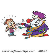 Cartoon Clown Scaring a Boy by Ron Leishman