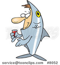 Cartoon Guy in a Fish Costume by Ron Leishman
