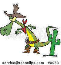 Cartoon Cowboy Lizard Ready to Draw His Gug by Ron Leishman
