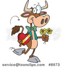 Cartoon Romantic Cow by Ron Leishman
