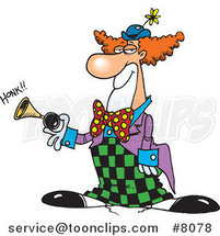 Cartoon Party Clown Honking a Horn by Ron Leishman