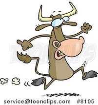 Cartoon Running Cow by Ron Leishman