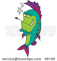 Cartoon Cool Fish Chewing on Straw by Ron Leishman