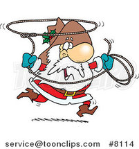 Cartoon Cowboy Santa Swinging a Lasso by Ron Leishman