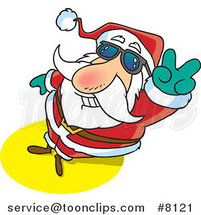 Cartoon Santa Gesturing Peace by Ron Leishman