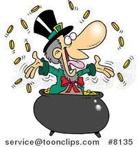 Cartoon Leprechaun Celebrating in His Pot of Gold by Toonaday