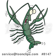 Cartoon Happy Crawdad by Ron Leishman