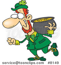 Cartoon Leprechaun Carrying His Pot of Gold on His Shoulder by Ron Leishman