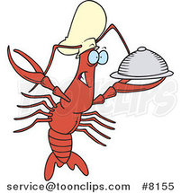 Cartoon Chef Crawdad Holding a Platter by Toonaday