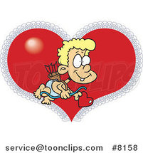 Cartoon Cupid Boy over a Heart by Ron Leishman
