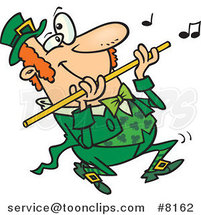 Cartoon St Patricks Day Leprechaun Playing a Flute by Toonaday
