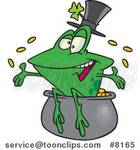 Cartoon St Patricks Day Frog on a Pot of Gold by Ron Leishman