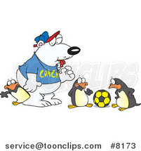 Cartoon Polar Bear Coaching Penguins for Soccer by Ron Leishman