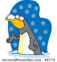 Cartoon Penguin in the Snow by Ron Leishman