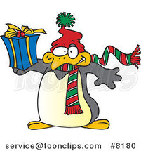 Cartoon Christmas Penguin Holding a Gift by Ron Leishman
