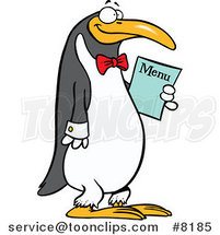 Cartoon Waiter Penguin Holding a Menu by Ron Leishman