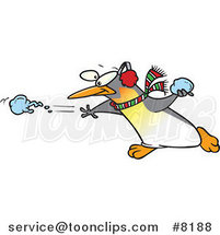 Cartoon Penguin Throwing a Snow Ball by Ron Leishman