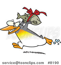 Cartoon Penguin Carrying a Fish Gift by Ron Leishman