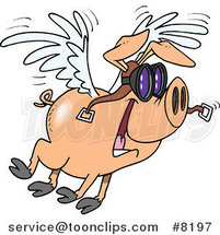 Cartoon Flying Pig by Toonaday