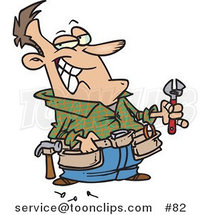 Cartoon Handy Guy Holding Tools and Smiling by Ron Leishman
