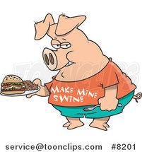Cartoon Pig Carrying a Sandwich by Ron Leishman