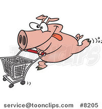 Cartoon Pig Pushing a Shopping Cart by Toonaday