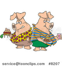 Cartoon Two Hogs Pigging out by Ron Leishman