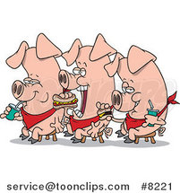 Cartoon Three Eating Pigs by Ron Leishman