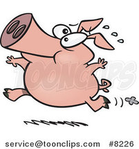 Cartoon Pig Running by Ron Leishman