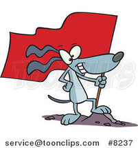 Cartoon Patriotic Dog Standing on a Mound with a Flag by Ron Leishman