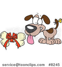 Cartoon Puppy with a Bell on His Tail, Looking at a Bone by Ron Leishman