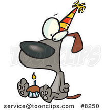 Cartoon Lonely Birthday Dog with a Cupcake by Ron Leishman