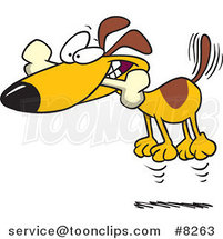 Cartoon Hyper Dog Jumping with a Bone in His Mouth by Toonaday