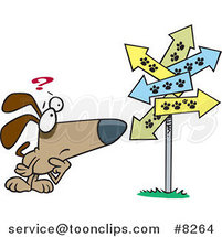 Cartoon Lost Dog Staring at Paw Print Signs by Toonaday