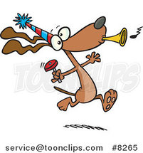 Cartoon Party Dog with Noise Makers by Ron Leishman