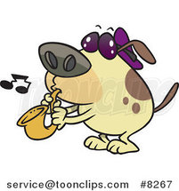 Cartoon Dog Playing a Saxophone by Toonaday