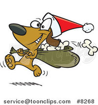Cartoon Santa Paws Dog Carrying a Bag of Bones by Ron Leishman