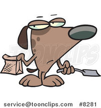 Cartoon Self Cleaning Dog Scooping His Poop by Toonaday