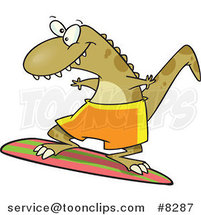 Cartoon Surfer Dinosaur by Toonaday