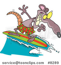 Cartoon Surfer Rat by Toonaday