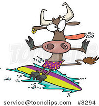 Cartoon Surfer Cow by Toonaday