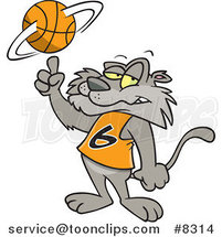 Cartoon Big Cat Spinning a Basketball by Toonaday