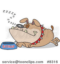 Cartoon Sleeping Bulldog by His Food Dish by Toonaday