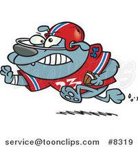 Cartoon Football Bulldog Running with a Straight Arm by Toonaday