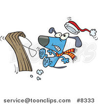 Cartoon Dog Falling off a Sled by Toonaday