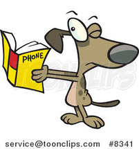 Cartoon Dog Squinting at a Phone Book by Toonaday