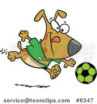 Cartoon Dog Playing Soccer by Toonaday