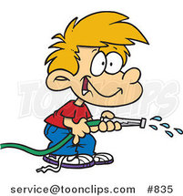 Cartoon Boy Using a Garden Hose to Water by Toonaday