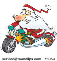 Cartoon Biker Santa on a Motorcycle by Ron Leishman